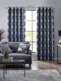 PAIRS OF SILVER SHIMMERY OAK TREES DARK GREY THICK VELVET LINED EYELET CURTAINS